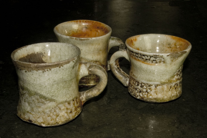 Shino glazed, anagama fired mugs