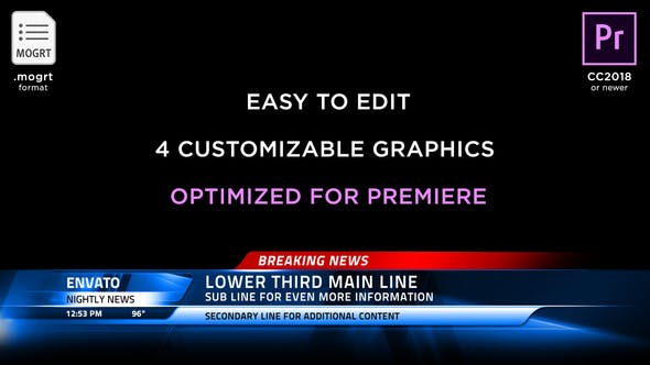 Broadcast News Lower Thirds Premiere Pro Templates