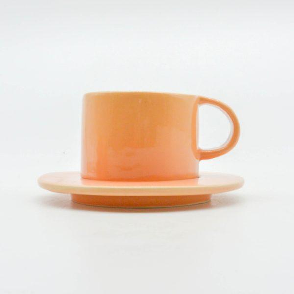 minh tien ceramic morning 04 set saucer handmade orange
