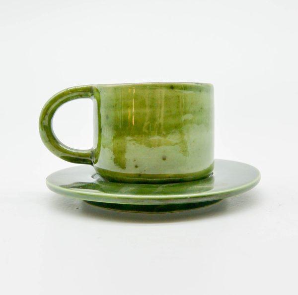 minh tien ceramic morning 03 set saucer handmade green