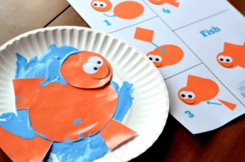 Build a Fish with Simple Shapes : Preschool Printable Activity