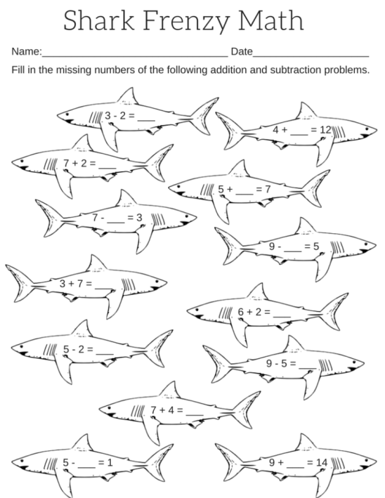 Shark Math Frenzy Fill in the missing number addition and subtraction worksheet.