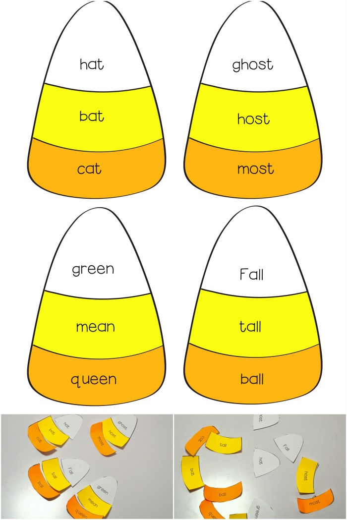 graphic regarding Candy Corn Printable called Preschool Kindergarten Sweet Corn Rhyming Free of charge Printable