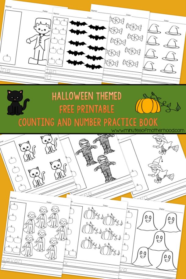 Halloween Themed Free Printable Counting Number Practice Book