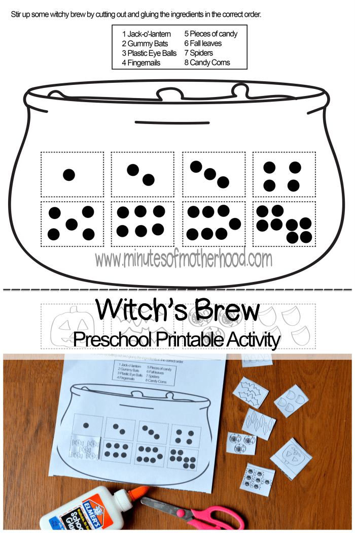 Witch's Brew Free Printable Counting Activity For Preschoolers