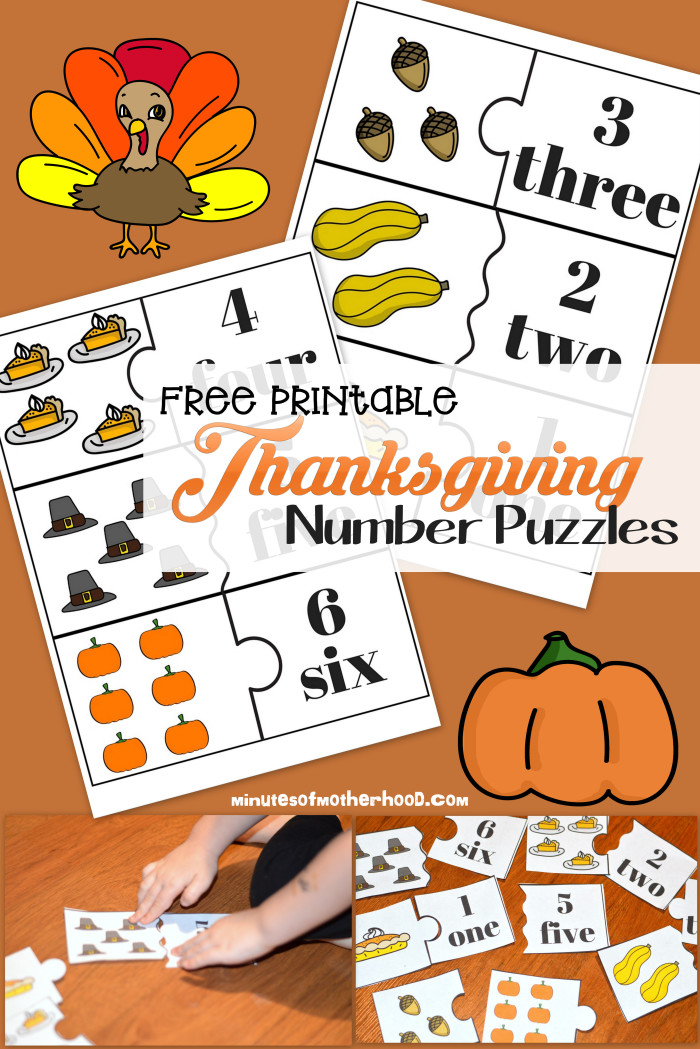 Free Printable Thanksgiving Day Preschool Number Puzzles1