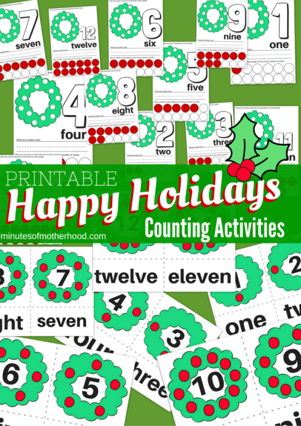 Free Printable Happy Holidays Wreath Counting Activities