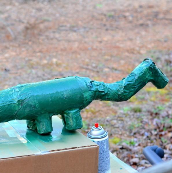 Dinosaur Paper Mache Piggy Bank DIY 2