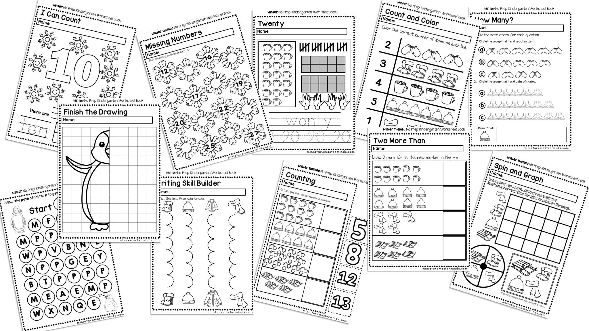 Winter No Prep Kindergarten 70 Page Worksheet Book