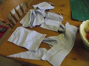 Guess what this started as? (picture of remnants of a man's shirt)