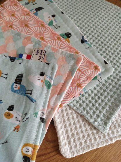 lot-de-6-8-12-feuilles-essuie-tout-lavables-coloris-assortis-coton-nid-abeille-coton-imprime