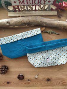 panier-tissu-reversible-coloris- eventails bleu-vert-interieur-petrole