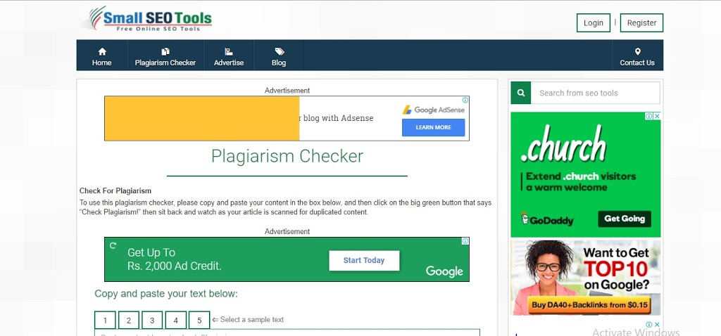 smallseotools Free Plagiarism Checker Tools For Bloggers