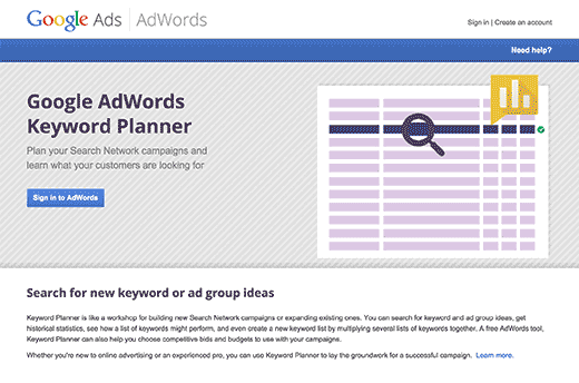 google keyword planner tools for seo
