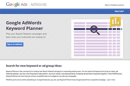 google keyword planner tools for seo