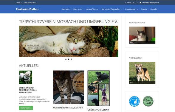 Webseite vom Tierheim Dallau