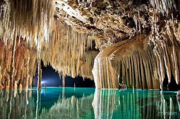 Mexico, underground river in Riviera Maya