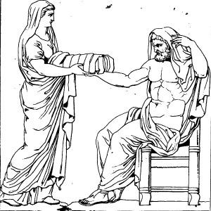 Rhéa_présentant_une_pierre_emmaillotée_à_Cronos_dessin_du_bas-relief_d'un_autel_romain