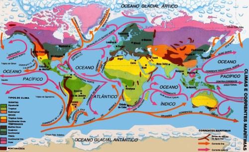 Climas e correntes marítimas mapa Mundi ( Imagem para imprimir)