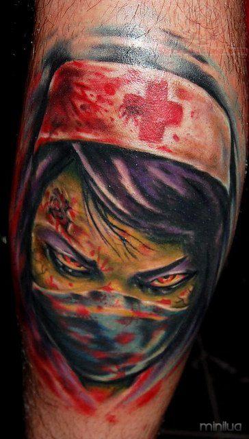 scary-nurse-face-tattoo