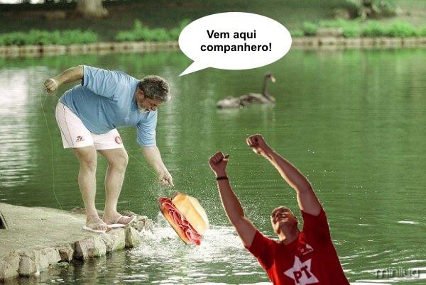 Nícolas Vasconcellos - Lula pescando petistas com pão de mortandela