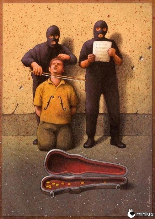 músicos satírico ilustração morte
