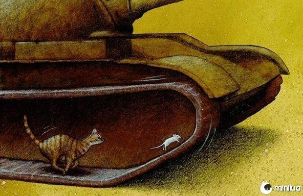 guerra satírico ilustração do gato persegue o rato