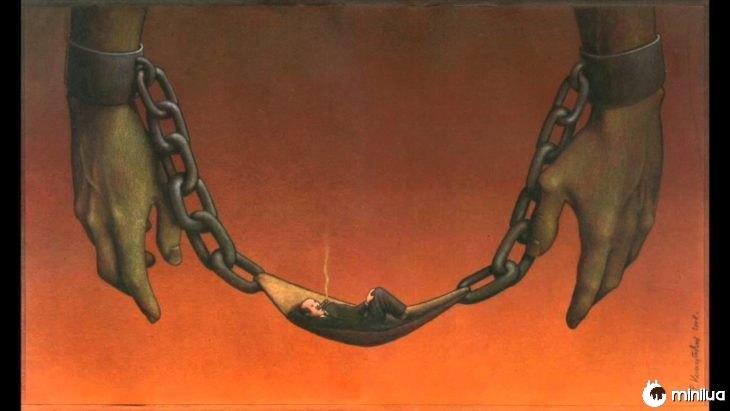 gangues ilustração satírica cadeia e em meio a uma rica em uma rede