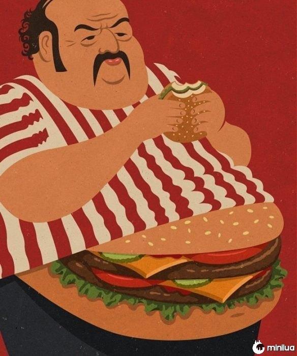 homem gordo ilustração satírica