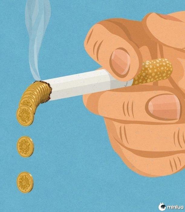 fumar arremesso satírico ilustração dinheiro
