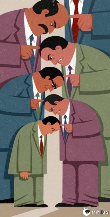 ilustração cabeças satíricos
