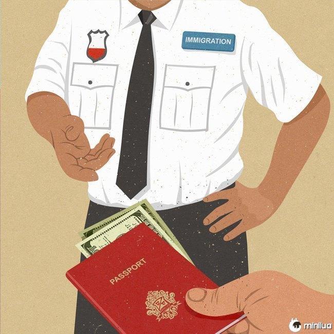 migração satírico ilustração dinheiro