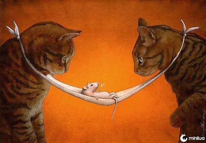 sat'ricia ilustração gatos que olham o mouse