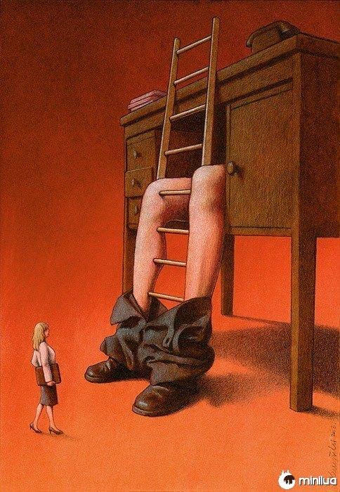 Ilustração da mulher ascendente sat'riica