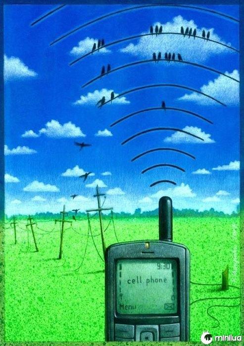 wi-fi satírico aves ilustração