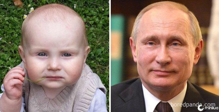 Meu bebê olha como Vladimir Putin pensativo