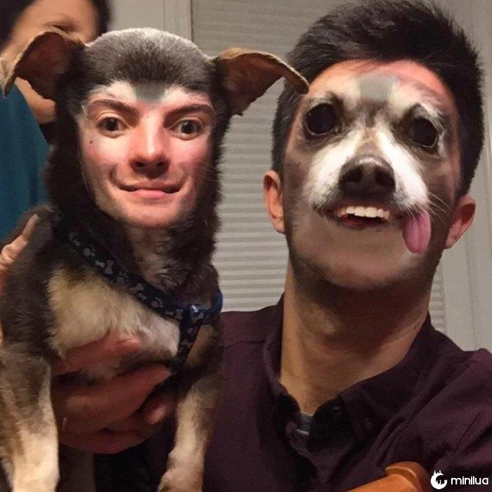 homem sedento e cão feliz