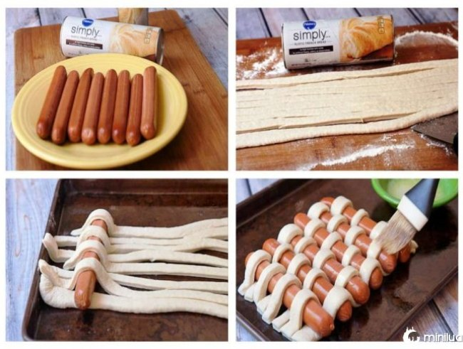 Dough tecidas em salsichas