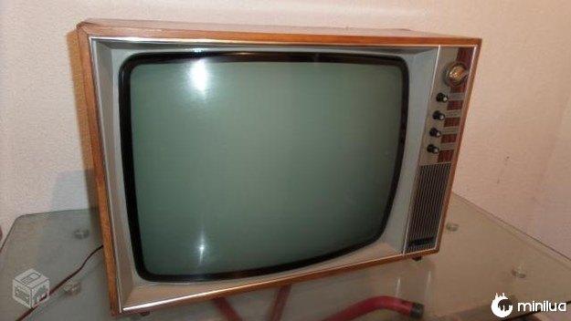 A televisão com acabamento em madeira.