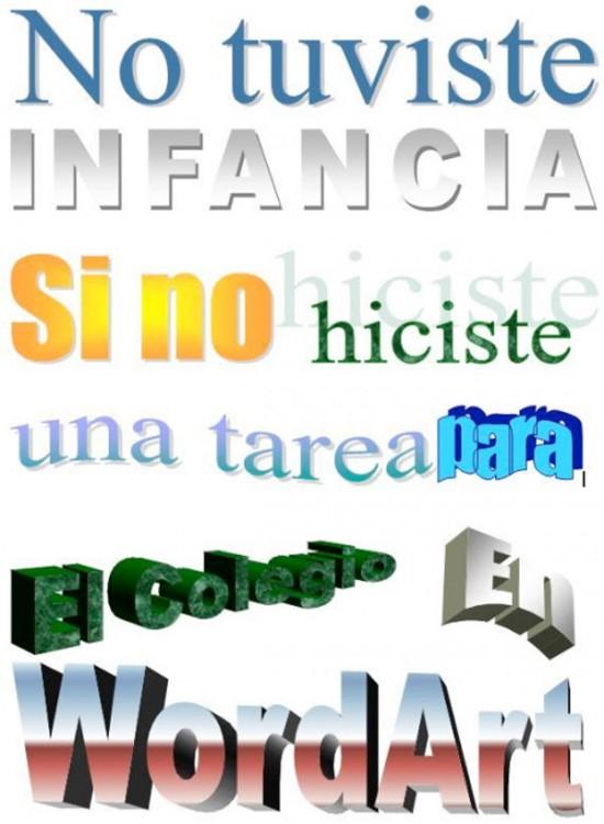 Frase com as diferentes letras da arte do Word