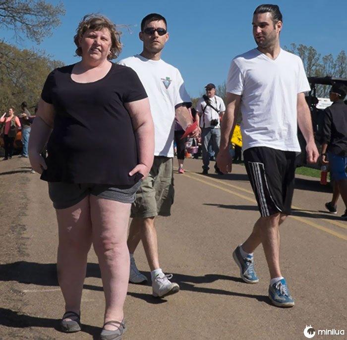 Mulher, com, shorts