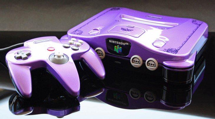 Consola de Nintendo 64 cor roxa
