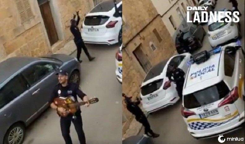 Polícia espanhola toca músicas nas ruas para entreter as pessoas durante o bloqueio | Minilua