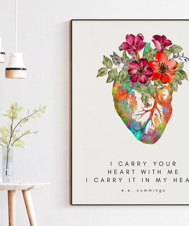 I Carry Your Heart I Carry It In My Heart - E.E. Cummings Poem with Heart Flowers - Typography Print - Wedding Gift - Love Poem - Gift