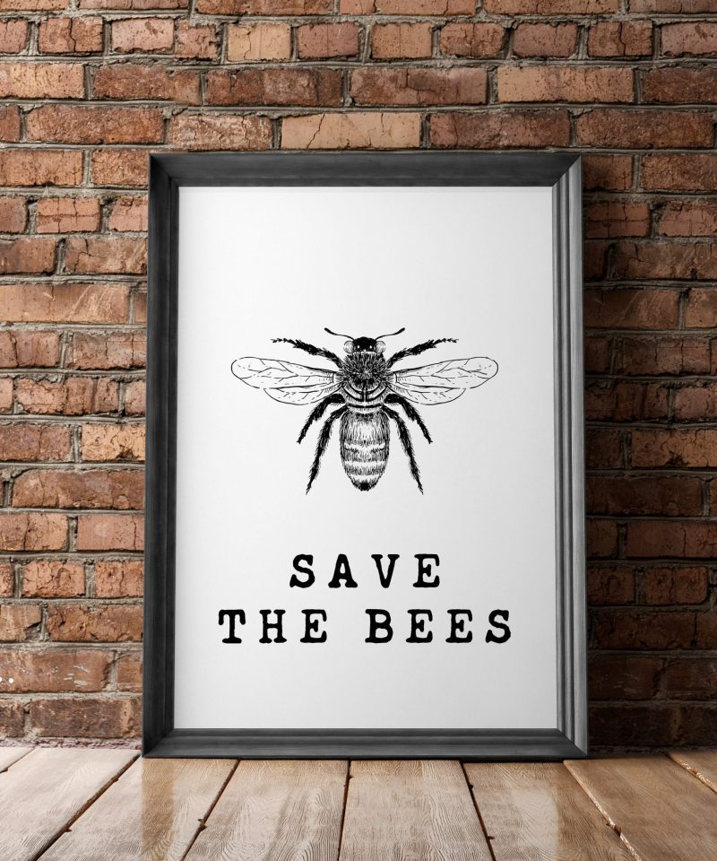 Save the Bees Wall Print   Kitchen Wall Decor   Bee Wall Art   Home Wall Decor   Minimalist Typography   Nature Wall Art   Bee Conservation