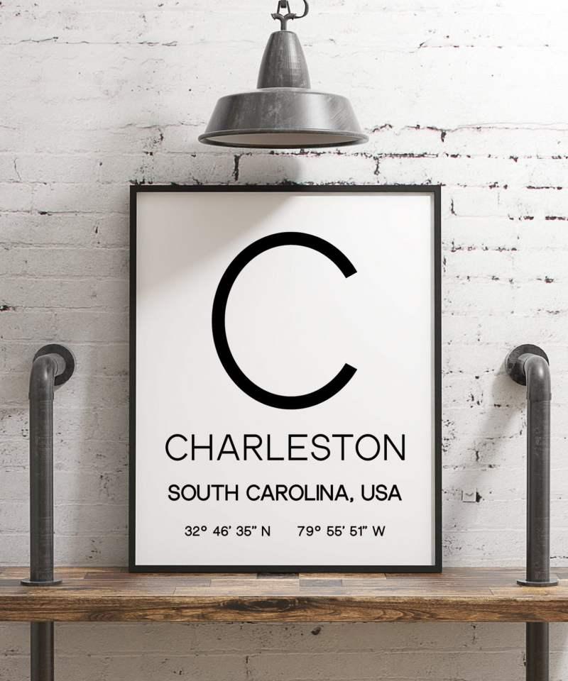 Charleston South Carolina with GPS Coordinates Minimalist Art Print - Minimalist Wall Decor - Office Decor - Living Room Decor - Dorm Decor