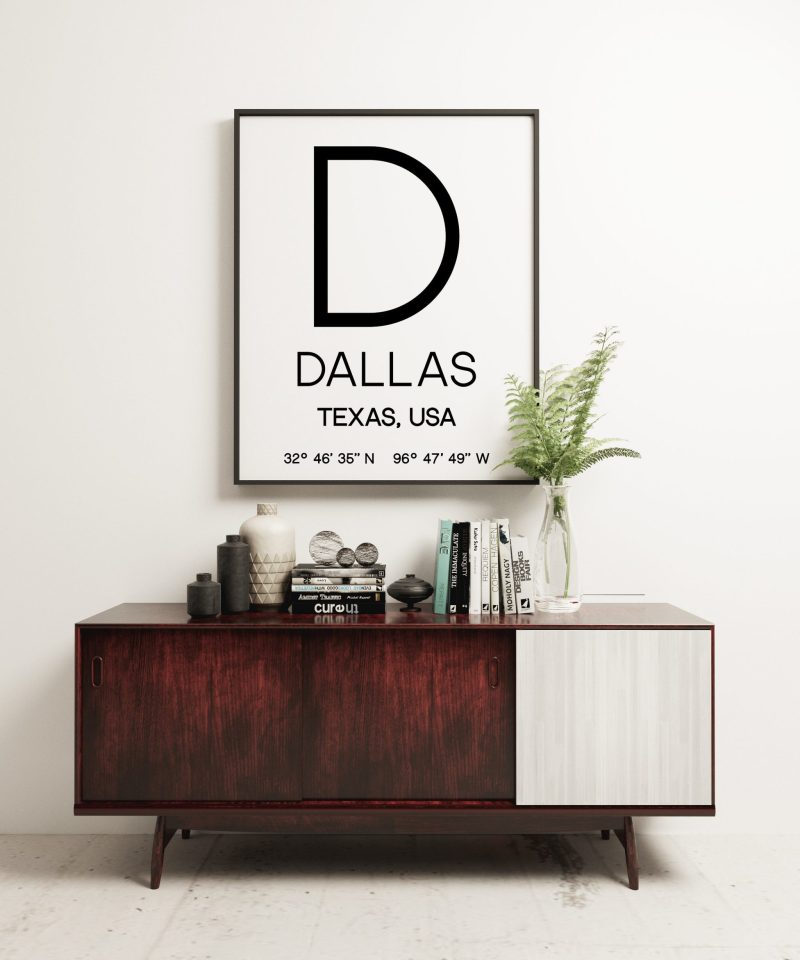 Dallas Texas with GPS Coordinates Typography Print // Dallas TX Decor, Dallas Texas GPS, Office Decor, Dorm Decor, Business Decor