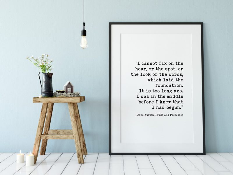 Jane Austen – Pride and Prejudice – I Cannot Fix on the Hour which Laid the Foundation. Typography Print   Home Decor   Minimalist Decor