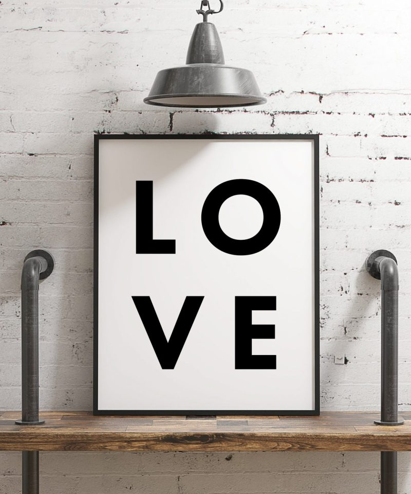 LOVE Typography Print   Home Wall Decor   Minimalist Decor   Wedding Gift   Anniversary Gift   Black and White Print