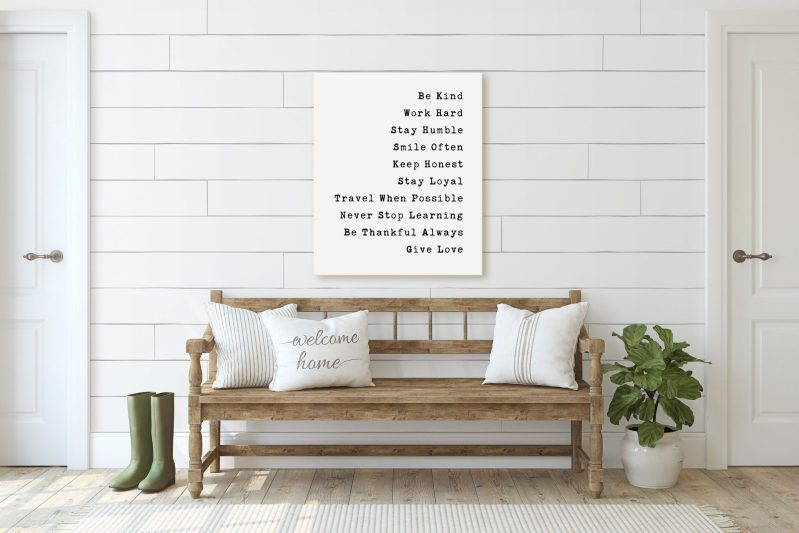 Be Kind Work Hard Stay Humble Smile Often Be Honest Travel When Possible Never Stop Learning Be Thankful Always Give Love // Nursery Art